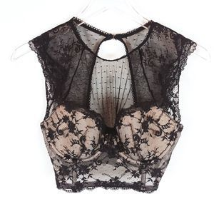 Victoria's Secret Black Lace Bustier Bra Size 34D